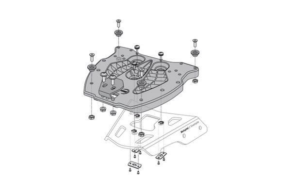 SW-Motech Alu-Rack adapterilevy TraX-Topcase Kuituvahvisteinen Nylon musta