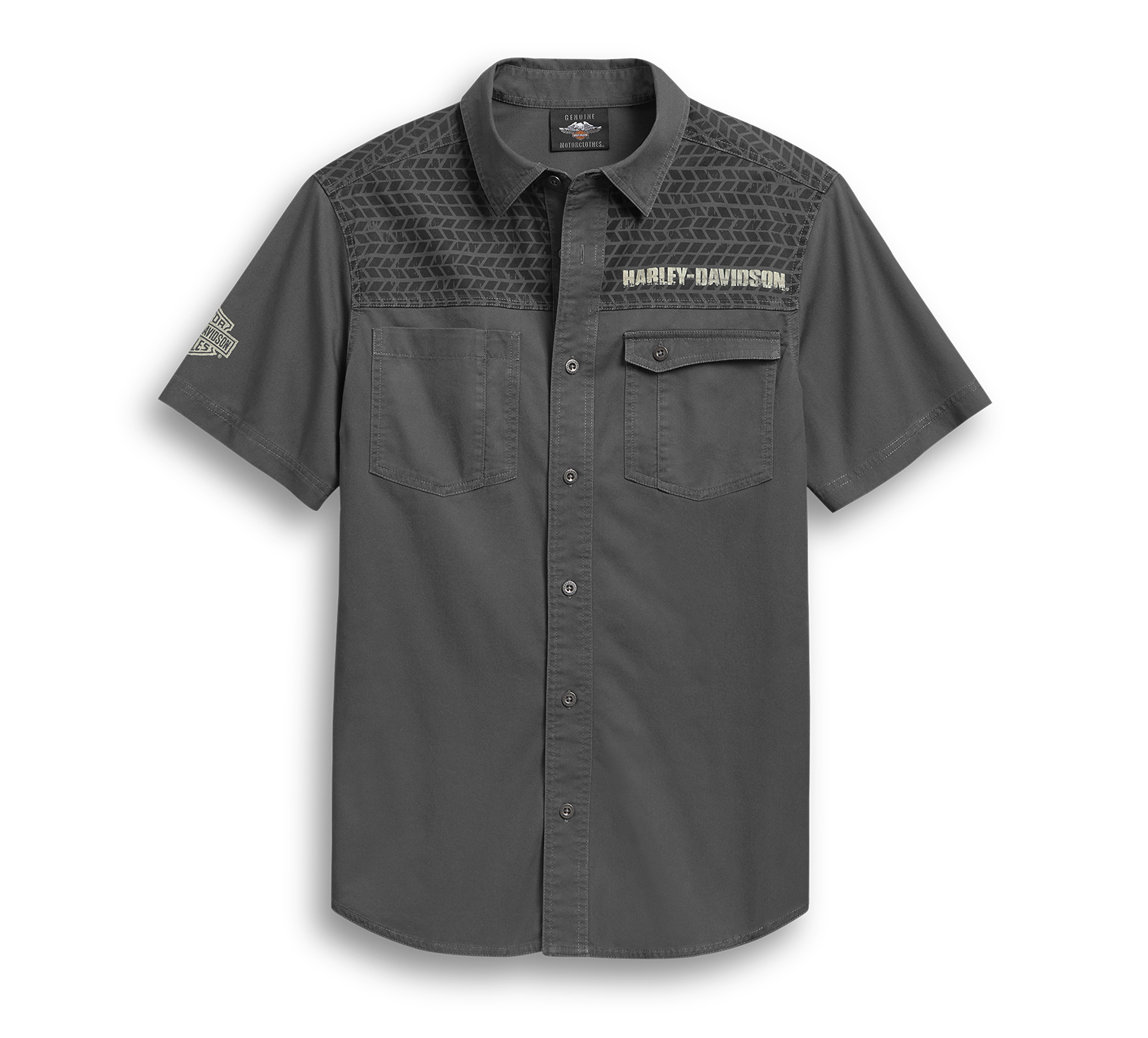 Harley-Davidson Men's Tire Tread Yoke Skull Wing Shirt