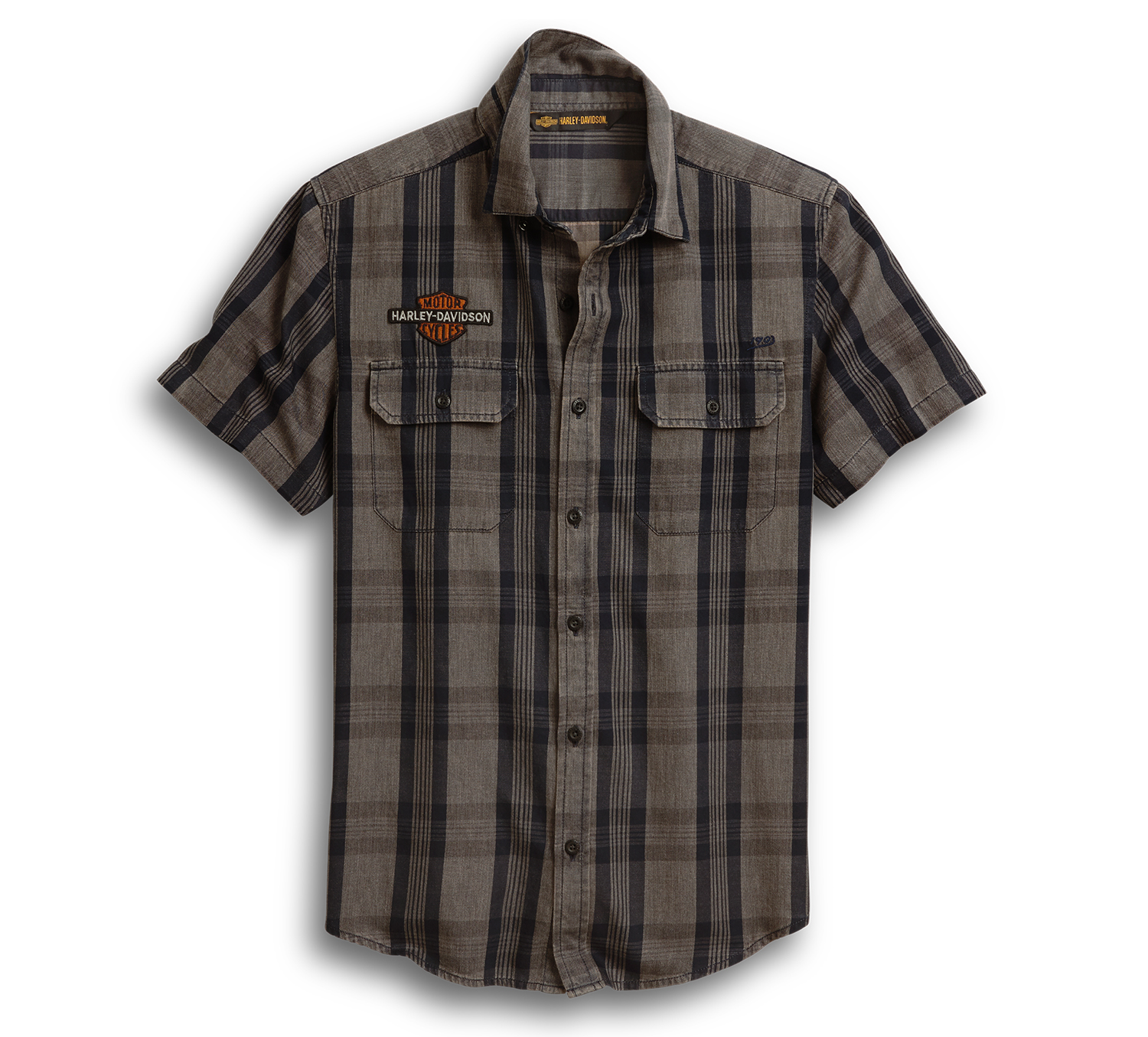 Harley-Davidson Men's Logo Patch Plaid Shirt