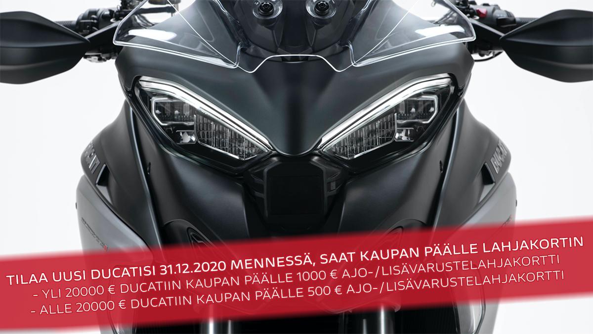 Uuden Ducatin ostajalle ajo-/lisävarustelahjakortti